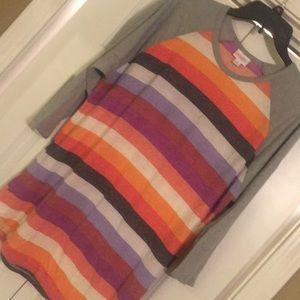 LulaRoe stripe shirt, worn once. 3/4 sleeve. Randy